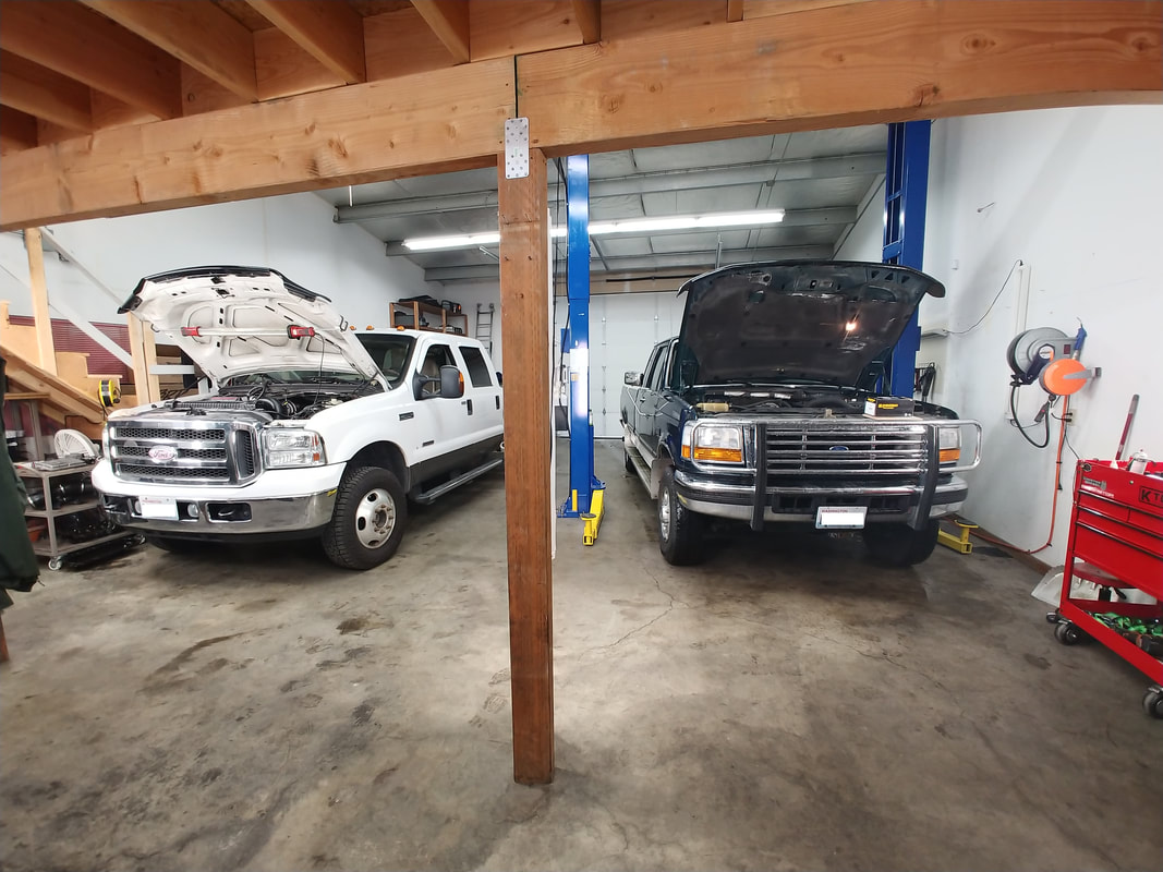 Two Ford Trucks with Hoods Up