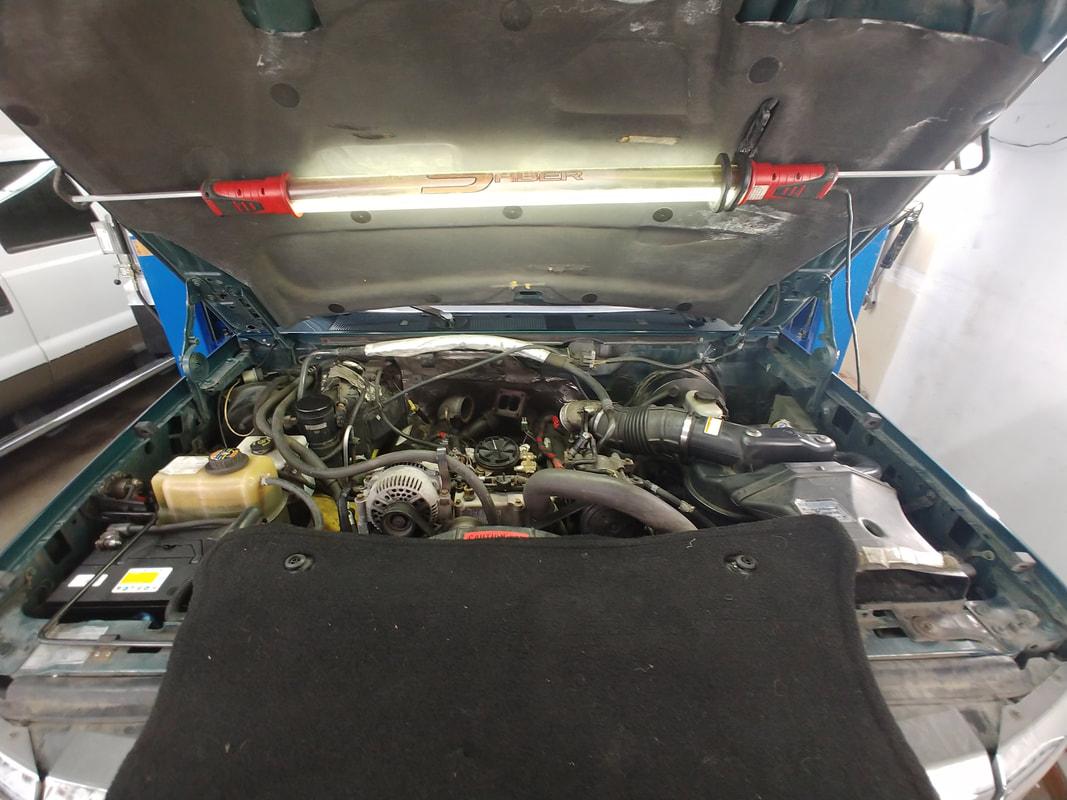 Hood with Light Overlooking Engine