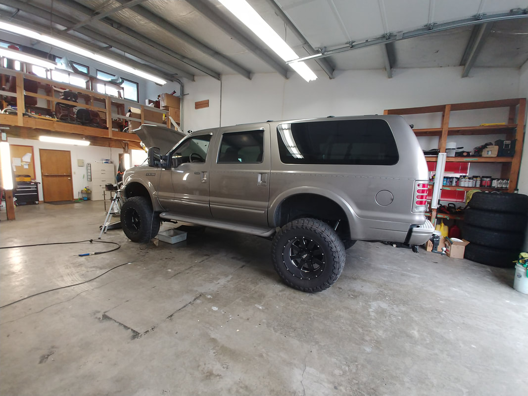 Truck with Lifted Suspension and Box