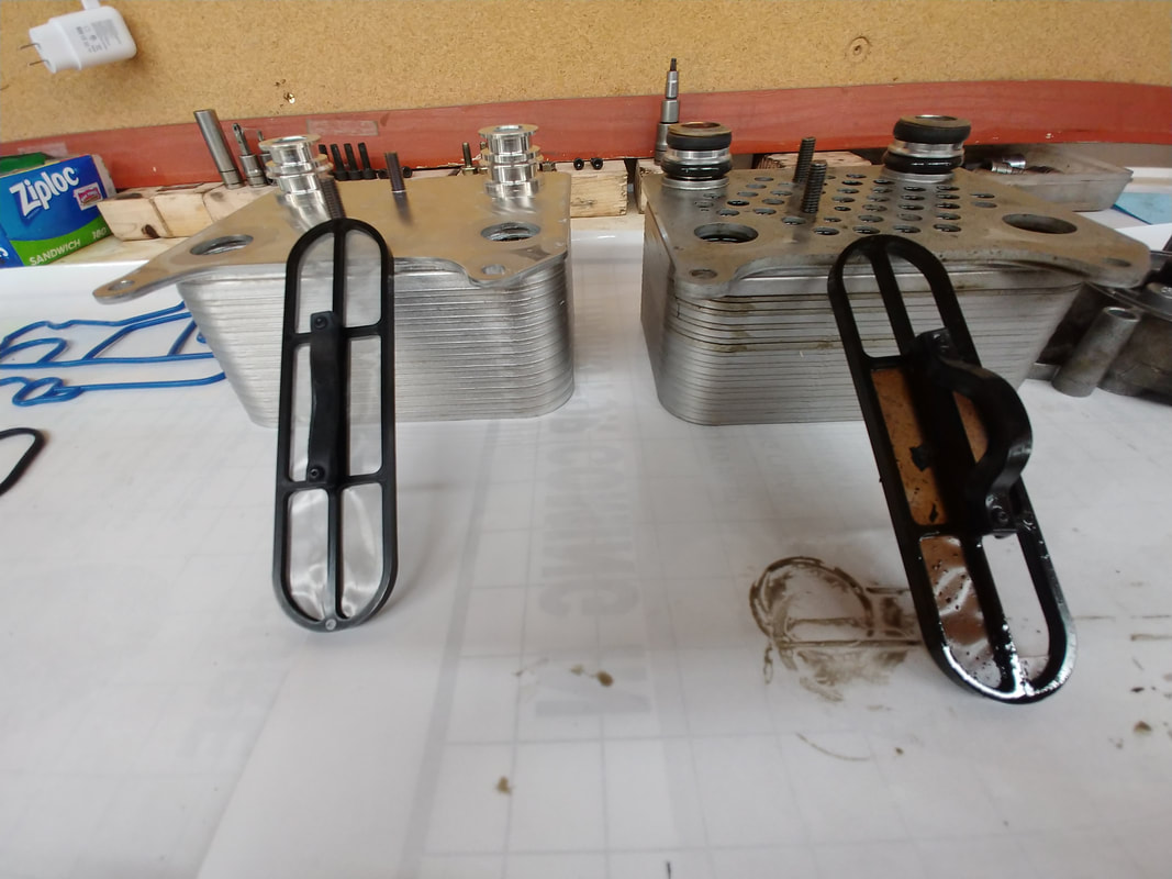 Car / Truck Parts on Shop Table